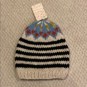 Free People Blue & White Combo Knit Hat